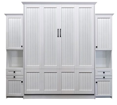 """Price as shown $6,234. Price includes Queen size Newport Murphy Bed in Paint Grade Wood / White Finish, Deep Design, LED Lighting System, a 16"""" Hutch Deluxe Door & Drawer with a Slide Out Tray and a 16"""" Hutch Door and Drawer with a Slide Out Tray. Shipping Sale! For a limited time, Wilding Wallbeds will pay up to $400 of your shipping."""