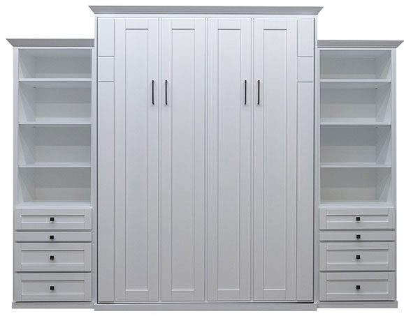 """Price as shown $7,024. Price includes Queen size Avery Park Wall Bed in Paint Grade Wood / White Finish, Deep Design, Black Wallbed Lights, Two 24"""" Three Drawer side cabinets with Slide Out Trays. Shipping Sale! For a limited time, Wilding Wallbeds will pay up to $400 of your shipping."""
