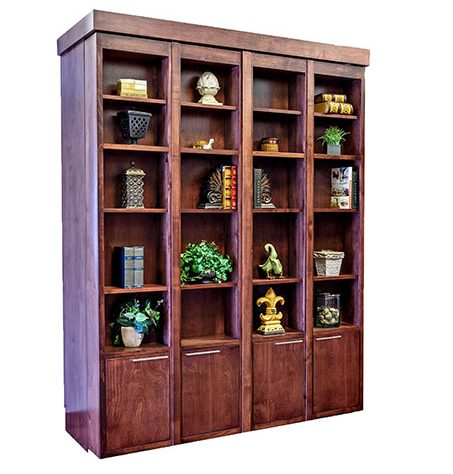 Price as shown $4,258. Price includes Queen size Bi-fold Bookcase Wallbed in Alder Wood / Cimarron Valley Finish and optional Scape style lower doors. Shipping Sale! For a limited time, Wilding Wallbeds will pay up to $400 of your shipping.