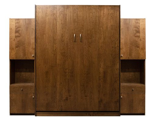 """Price as shown $4,821. Price includes Queen size Dakota Murphy Bed in Alder Wood / English Manor Finish, Deep Design, LED Lighting System, and 2- 16"""" Hutch Door & Drawer side cabinets. Shipping Sale! For a limited time, Wilding Wallbeds will pay up to $400 of your shipping."""