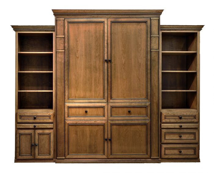 """Price as shown $7,264. Price includes our Queen size Harmony II style Wallbed in Cherry wood with a Natural finish with Black Glaze, LED Wallbed Lighting System with safety cut off, one 24"""" Left Door & Drawer side cabinet with Slide Out Night Tray, one 24"""" Right Three Drawer side cabinet with Slide Out Night Tray. Shipping Sale! For a limited time, Wilding Wallbeds will pay up to $400 of your shipping."""