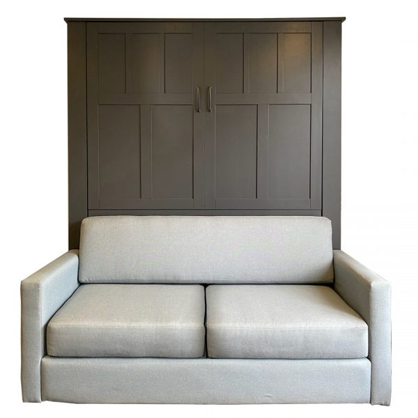 Queen size Park City style Sofa Murphy Bed in Paint Grade wood with Slate Gray finish. Sofa shown with Sky Mist color fabric.