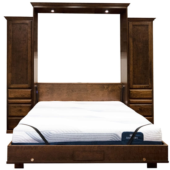 """Price as shown $6,524, price includes Queen size Brittany II Wall Bed in Cherry Wood / Grand Harbor finish, LED Black Wallbed Lights, 18"""" Left Three Drawer side cabinet with Upper Door and Slide Out Night Table, 18"""" Right Three Drawer side cabinet with Upper Door and Slide Out Night Table. Shipping Sale! For a limited time, Wilding Wallbeds will pay up to $400 of your shipping."""