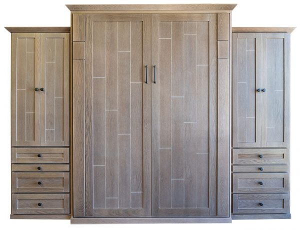 """Price as shown $6,864. Price includes our Queen size Cape Cod Wall Bed in Oak wood / Coastal Mist finish, LED Wallbed Lighting System, Deep Design, two 24"""" Wardrobe side cabinets with slide-out night tables. Shipping Sale! For a limited time, Wilding Wallbeds will pay up to $400 of your shipping."""