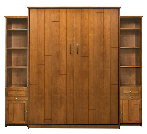 """Price as shown $4,924. Price includes Queen size Chesapeake Murphy Bed in Alder Wood / Autumn Haze Finish, LED Wallbed Lighting System with safety cut off, two 16"""" Door & Drawer side cabinets with Slide Out Night Tables. Shipping Sale! For a limited time, Wilding Wallbeds will pay up to $400 of your shipping."""