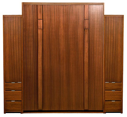"""Price as shown $6,662. Price includes Queen size Edge Wall Bed in Mahogany Wood / Autumn Haze with Black Glaze Finish, Deep Design, Black Wallbed Lights, Two 18"""" 3 Drawer Wardrobe side cabinets. Shipping Sale! For a limited time, Wilding Wallbeds will pay up to $400 of your shipping."""