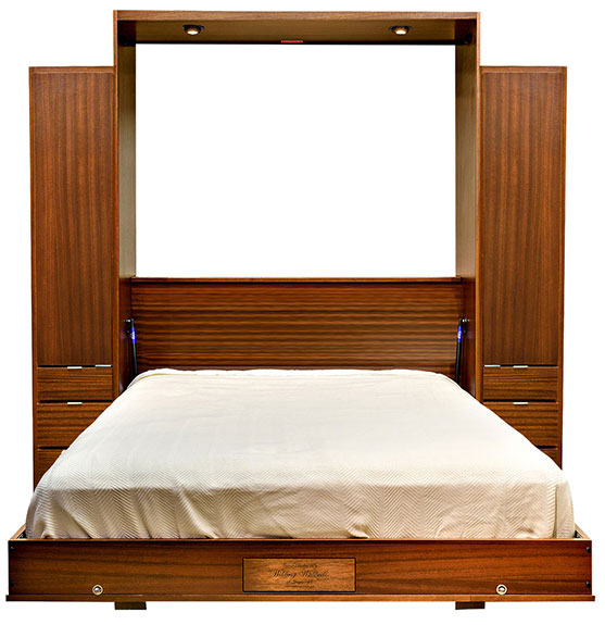 """Price as shown $6,462. Price includes Queen size Edge Wall Bed in Mahogany Wood / Autumn Haze with Black Glaze Finish, Deep Design, Black Wallbed Lights, Two 18"""" 3 Drawer Wardrobe side cabinets. Shipping Sale! For a limited time, Wilding Wallbeds will pay up to $400 of your shipping."""