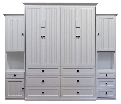 """Price as shown $7,101. Price includes Queen size Hampton Wall Bed in Paint Grade Wood / White Finish, Left 18"""" Hutch Door and Drawer, Right 18"""" Hutch 3 Drawer, and LED Wallbed Lighting System. Shipping Sale! For a limited time, Wilding Wallbeds will pay up to $400 of your shipping."""