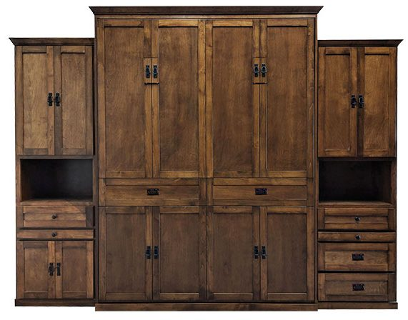 """Price as shown $6,524. Price includes Queen size Mission Street Wall Bed in Alder Wood / English Manor Finish, LED Wallbed Light kit with safety cut off switch, One 24""""Door & Drawer Hutch cabinet with slide out tray (left side), One 24"""" Three Drawer Hutch Cabinet with slide out tray (right side). Shipping Sale! For a limited time, Wilding Wallbeds will pay up to $400 of your shipping. Mattress Sold Separately"""