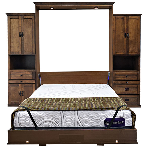 """Price as shown $6,424. Price includes Queen size Mission Street Wall Bed in Alder Wood / English Manor Finish, LED Wallbed Light kit with safety cut off switch, One 24""""Door & Drawer Hutch cabinet with slide out tray (left side), One 24"""" Three Drawer Hutch Cabinet with slide out tray (right side). Shipping Sale! For a limited time, Wilding Wallbeds will pay up to $400 of your shipping. Mattress Sold Separately"""