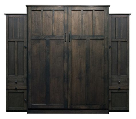 """Price as shown $5,914. Price includes Queen size Park City Murphy Bed in Alder Wood / Driftwood Finish, LED Wallbed Lights, 2-16"""" Door and Drawer with Upper Door side cabinets with Slide Out Trays. Shipping Sale! For a limited time, Wilding Wallbeds will pay up to $400 of your shipping."""
