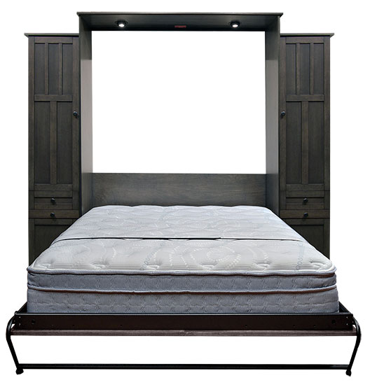 """Price as shown $5,334. Price includes Queen size Park City Murphy Bed in Alder Wood / Driftwood Finish, LED Wallbed Lights, 2-16"""" Door and Drawer with Upper Door side cabinets with Slide Out Trays. Shipping Sale! For a limited time, Wilding Wallbeds will pay up to $400 of your shipping."""