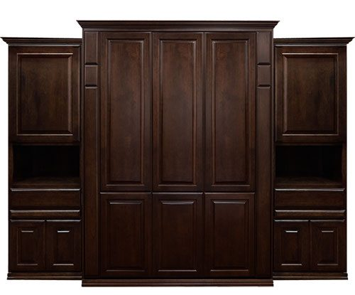 """Price as shown $7,309. Price includes Queen size Presidential Wall Bed in Cherry wood with Mocha Nut finish, 20"""" Deep design, LED Lighting System, 2- 24"""" Door and Drawer Hutches, both with our slide out tray. Shipping Sale! For a limited time, Wilding Wallbeds will pay up to $400 of your shipping."""