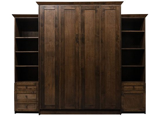 """Price as shown $4,881, price includes Queen size Remington Murphy Bed in Alder Wood / Grand Harbor Finish, Deep Design, LED lighting system with 3 way touch, one 20"""" Left Three Drawer Cabinet, one 20"""" Door & Drawer side cabinet . Shipping Sale! For a limited time, Wilding Wallbeds will pay up to $400 of your shipping."""