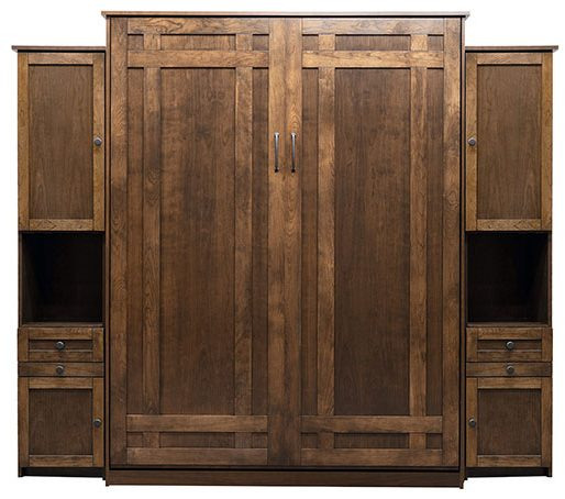 """Price as shown $6,154. Price includes Queen size Santa Fe Murphybed in Cherry wood / Grand Harbor finish, LED Wallbed Lighting System, two 16"""" Door and Drawer Hutch cabinets, both with a Slide Out Night Table. Shipping Sale! For a limited time, Wilding Wallbeds will pay up to $400 of your shipping."""
