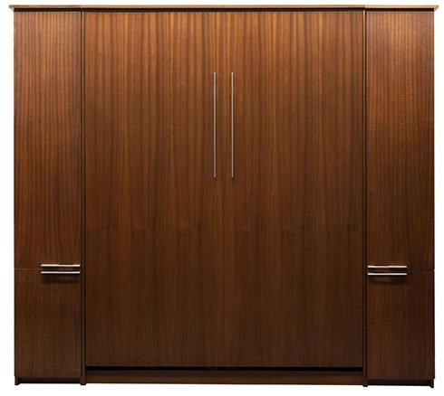 """Price as shown $6,146, price includes Queen size Scape Murphy Bed in African Mahogany Wood / English Manor Finish, Black LED Lighting System with safety cut off, and two 16"""" Door over Door cabinets built the same height and depth as the Murphy Bed. Shipping Sale! For a limited time, Wilding Wallbeds will pay up to $400 of your shipping."""