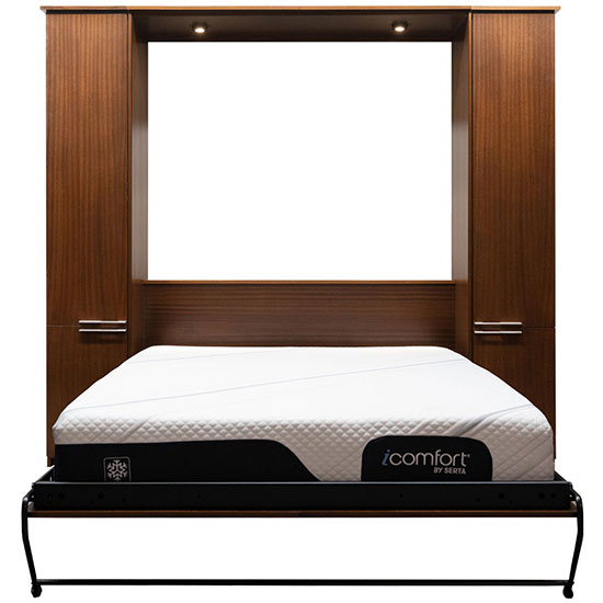 """Price as shown $5,566, price includes Queen size Scape Murphy Bed in African Mahogany Wood / English Manor Finish, Black LED Lighting System with safety cut off, and two 16"""" Door over Door cabinets built the same height and depth as the Murphy Bed. Shipping Sale! For a limited time, Wilding Wallbeds will pay up to $400 of your shipping."""