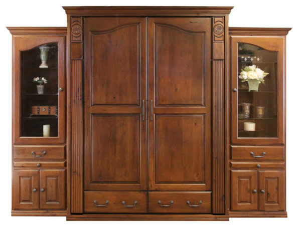 """Price as shown $8,051. Price includes our Queen size Tuscany Wall Bed in Rustic Cherry Wood / Autumn Haze Finish, two 24"""" Deluxe Door & Drawer side cabinets with Upper Clear Glass Doors, Glass Shelves and Slide Out Trays. Shipping Sale! For a limited time, Wilding Wallbeds will pay up to $400 of your shipping."""
